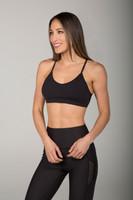 Medium Impact Adjustable Strap Sports Bra (Black)