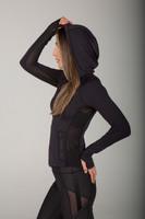 Black Activewear Zip-Up Hoodie With Side Mesh Detail