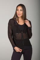 Sheer Lightweight Yoga Jacket in Black Mesh