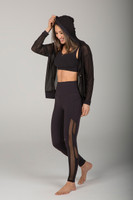 Black Mesh Zip Up and Mesh Legging Yoga Outfit