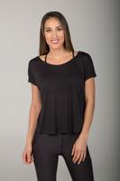Scoop Neckline Black Yoga T-Shirt front view