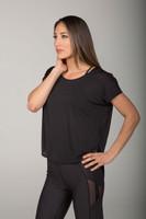 Loose Fitting Black Short Sleeve Yoga Top