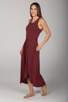 Soft Thick Strap Waist Tie Dress in Earthy Red