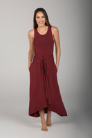 Long Scoop Neck Dress in Clay front view