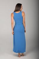Long Blue Tie Waist Yoga Dress back view