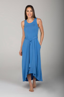 Long Blue Chambray Dress front view