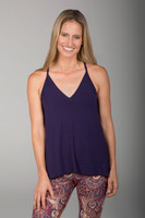 Navy Blue Deep V Neck Thin Strap Cami front view