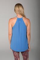 Soft V-Neck Yoga Cami in Blue back view