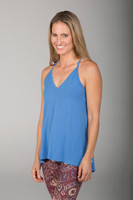 V-Neck Tank Top in Blue Chambray side view