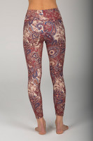 High Waisted 7/8 Yoga Tights in Paisley Pattern back view