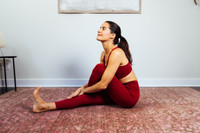 High Waist Yoga Pant and Bra in Clay yoga pose Elena Brower