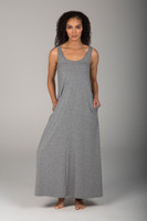 Scoop Neck Beach Dress in Heather Grey with pockets