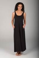 Black Beach Dress With Pockets front view