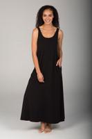 Scoop Neck Long Pocketed Little Black Dress
