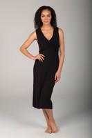 V-Neck Wrap Dress in Black front view