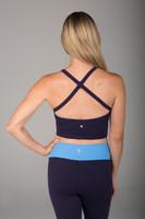 Navy Blue Yoga Crop Top Criss Cross Back