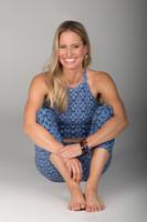 Grace Yoga Halter Crop Top and Yoga Leggings in blue print