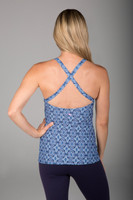 Criss Cross Back Grace Yoga Halter in Blue Summer Print