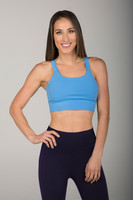 Solid Blue Sports Bra front view