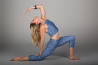 Blue Printed Capri Yoga Pant and Crop Top Set