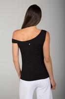 Black Off the Shoulder Yoga Top back view