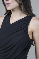 Ruched Black Thick Strap High Neck Yoga Top