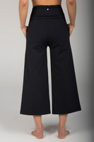 Wide Leg Cropped Black Yoga Pants back view