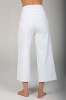 High Rise Cropped Yoga Pants in Pure White back view
