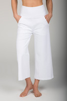 High Waist Wide Leg Crop Pant with Pockets front view