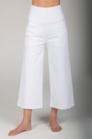 Flared Pocket Yoga Pants in White front view