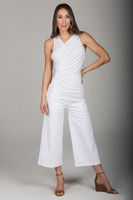 White Wide Leg Crop Pant and Ruched Sleeveless Top Yoga Outfit