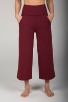 High Waist Wide Leg Crop Pant Rusty Red front view