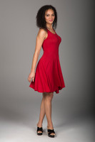 Flared Chili Red Dress side view