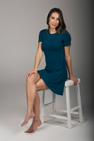 Comfortable Blue T-Shirt Dress seated