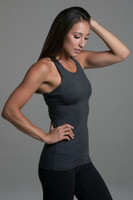 Grace Vinyasa Yoga Racerback(Charcoal Heather) cozy side support view