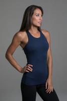 Grace Vinyasa Yoga Racerback (Iris Heather) support side view