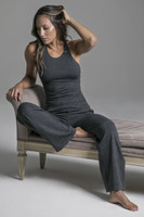 Cozy Traveler Pant in Charcoal Heather & Grace Vinyasa Racerback in Charcoal Heather