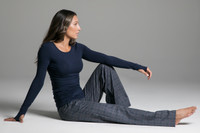 High Waist Wide Leg Pant (Navy Glen Plaid) side ruched top navy