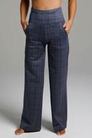 High Waist Wide Leg Pant (Navy Glen Plaid) front view pockets
