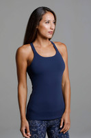 Horizon Yoga Tank Dark Navy support yoga tank side