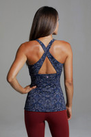 Open Criss Cross Back Printed Yoga Top back view