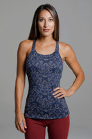 Navy Printed Yoga Top with Shelf Bra front view