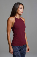 Supportive High Neck Halter Tank in Sienna Red