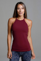 High Coverage Long Halter Top in Dark Red front view