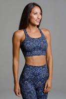 Blue Medallion Pattern Supportive Yoga Sports Bra