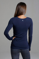 Side Ruched Long Sleeve Yoga Top in Marine Navy back view