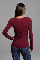 Red Scoop Neck LongSleeve Yoga Shirt back view