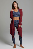 Knit Yoga Wrap (Sienna) front view swingy cardigan
