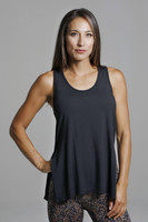 Loose Fitting Thick Strap Black Tank Top