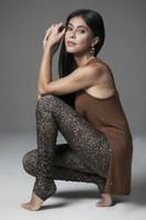 Bronze Brown Split Tank Top and Leopard Print Legging Yoga lifestyle